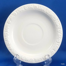 "Rosenthal Maria V Saucer White Porcelain Embossed Rose Rim 5-5/8"" w 2"" Indent - $9.90"