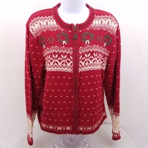 VTG Woolrich Womens Size M Christmas Wreath Sweater Cardigan Zip Red Gre... - $22.53