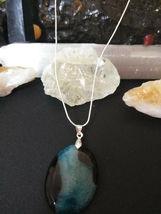 Natural Healing Blue Druzy Quartz Pendant Necklace 925 Sliver Chain BValentines  image 5
