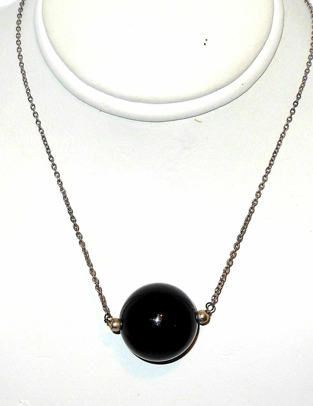 Black Onyx 16 MM  Round Ball sterling silver Necklace  31 carats