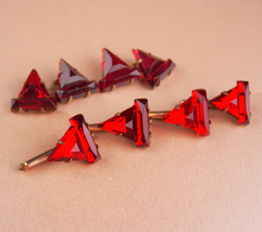 Victorian cufflink set - Elegant Faceted Red stud Cufflinks - Antique Sh... - $165.00