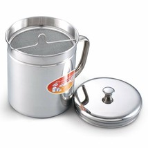 Stainless Oil Storage with Strainer Oil Filter & Cap Frying Left Over St... - $30.89