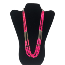 """Silver Tone and Pink Beaded 3 Strand Statement Necklace Fashion Jewelry 25"""" - $14.84"""