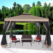 Garden Gazebo Polyester 10' x 10' Patio Backyard Double Roof Vented Nett... - $179.99