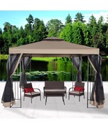 Garden Gazebo Polyester 10' x 10' Patio Backyard Double Roof Vented Nett... - $189.99