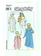 Child's Girls Pajamas Robe Nightgown Hat UNCUT Simplicity 8943 sz LG PA93 - $6.97