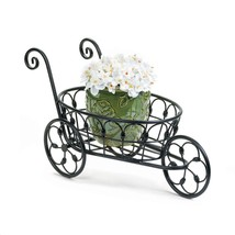 Small BLACK IRON FLOWER CART Plant Stand Indoor Outdoor - $30.89