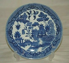 "Old Vintage Blue Willow Pattern 5-7/8"" Saucer Oriental Scene Unknown Maker Japan - $8.90"