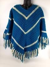 VTG Crochet Poncho Shawl Hippie Granny Afghan Festival Fringe Boho One S... - £32.04 GBP
