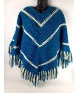 VTG Crochet Poncho Shawl Hippie Granny Afghan Festival Fringe Boho One Size 70s - $44.54