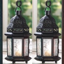 2 Black Lantern Clear Glass SMALL Candleholder Wedding Centerpieces - $18.78