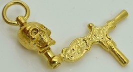 Antik Viktorianisch 18K Vergoldet Memento Mori Skull Taschenuhr Kurbel S... - $153.99