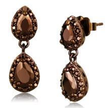 Women's Brass IP Coffee light CZ Brown Light Coffee Pear Dangle & Drop E... - $23.90