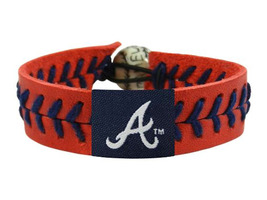 MLB Atlanta Braves Team Color Leather Baseball Bracelet - $12.99