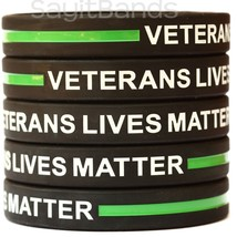 VETERANS LIVES MATTER Silicone Bracelets - The Thin Green Line Wristband... - $1.48+