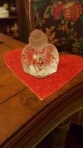 "FENTON Clear & Frosted Glass Angel  Blue Birth Stone Flower 3 1/4""  sticker - $7.49"