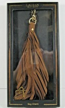 Ralph Lauren NIB Feather Inspired Bag Charm Khaki Brown Lobster Clasp Gold - $33.47