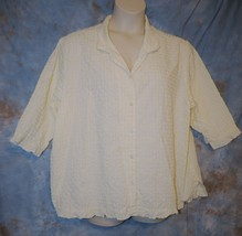 Womens Yellow White Denim & Co 3/4 Sleeve Shirt Size 3X very good - $6.92
