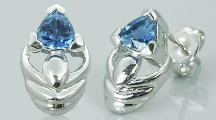 1ctw trillion cut london blue topaz earrings  received receivedsterling silver