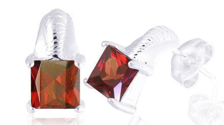 Garnet princess cutearrings1 50ctw