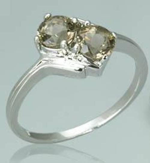 1.00ctw  round cut smoky quartz ring