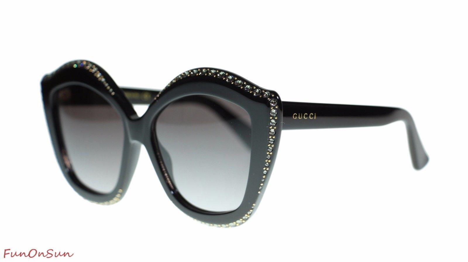 Gucci Women Designer Sunglasses GG0118S 001 Black/Grey Lens 53mm Authentic