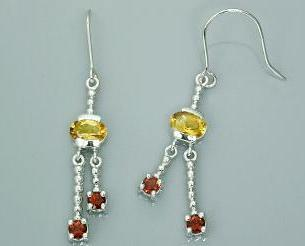Oval round cut citrine garnet three stone dangling earrings
