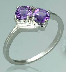 Round cut amethyst ring sterling silver size 7