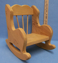 """Vintage Wood Rocking Chair For Dolls or Plush Animals Light Wood 9 3/4"""" ... - $16.92"""