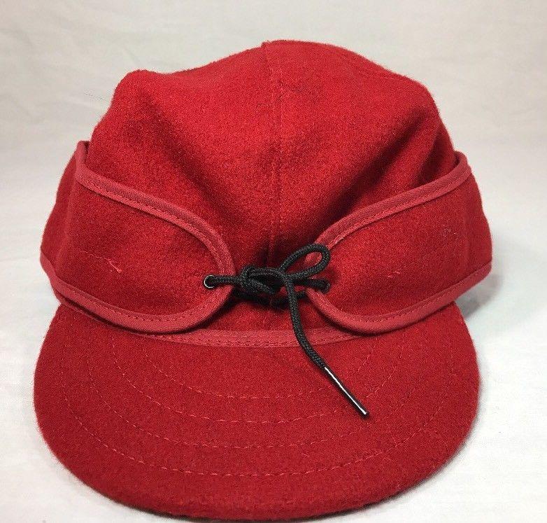 Stormy Kromer Cap Red Black Sz Wool Made in USA Hat Baseball Engineer 6 7/8