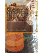 Fall Thanksgiving Vinyl Tablecloth Rectangular 60x84 Grateful Leaves Bla... - $12.86