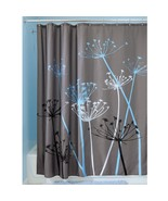 "InterDesign Bathroom Shower Curtain Thistle Gray/Blue Modern Decor 72""! ... - $13.65"