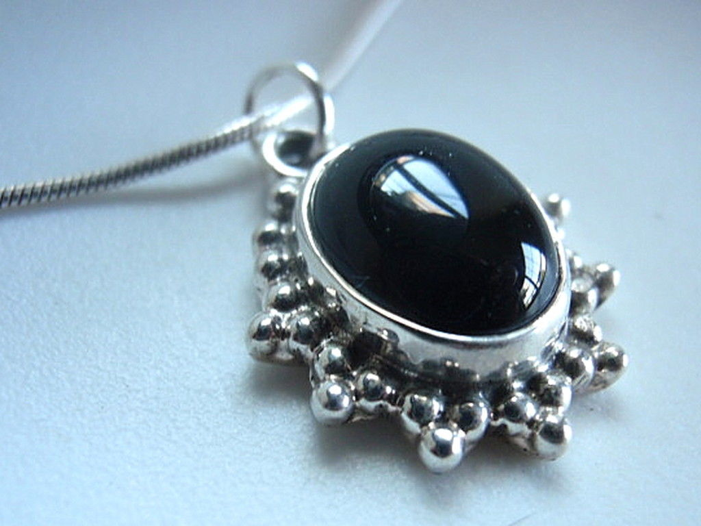 Primary image for LAST ONE New Black Onyx Silver Necklace Handmade New