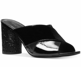 Michael Kors Black Cher Patent Leather Mid Heel Slide Mule 7 - $74.24
