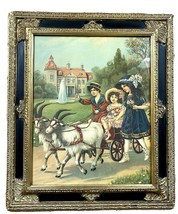 German Lithograph Framed Print Children Goat Cart Carriage Victorian Wal... - $325.00