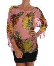 Dolce & Gabbana Pink Pineapple Print Silk Blouse - $262.15