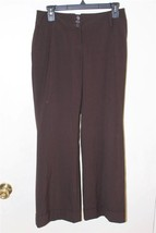 W8084 Womens ANN TAYLOR LOFT Brown Cuffed Boot Cut SLACKS Pants Marisa 2... - $14.50