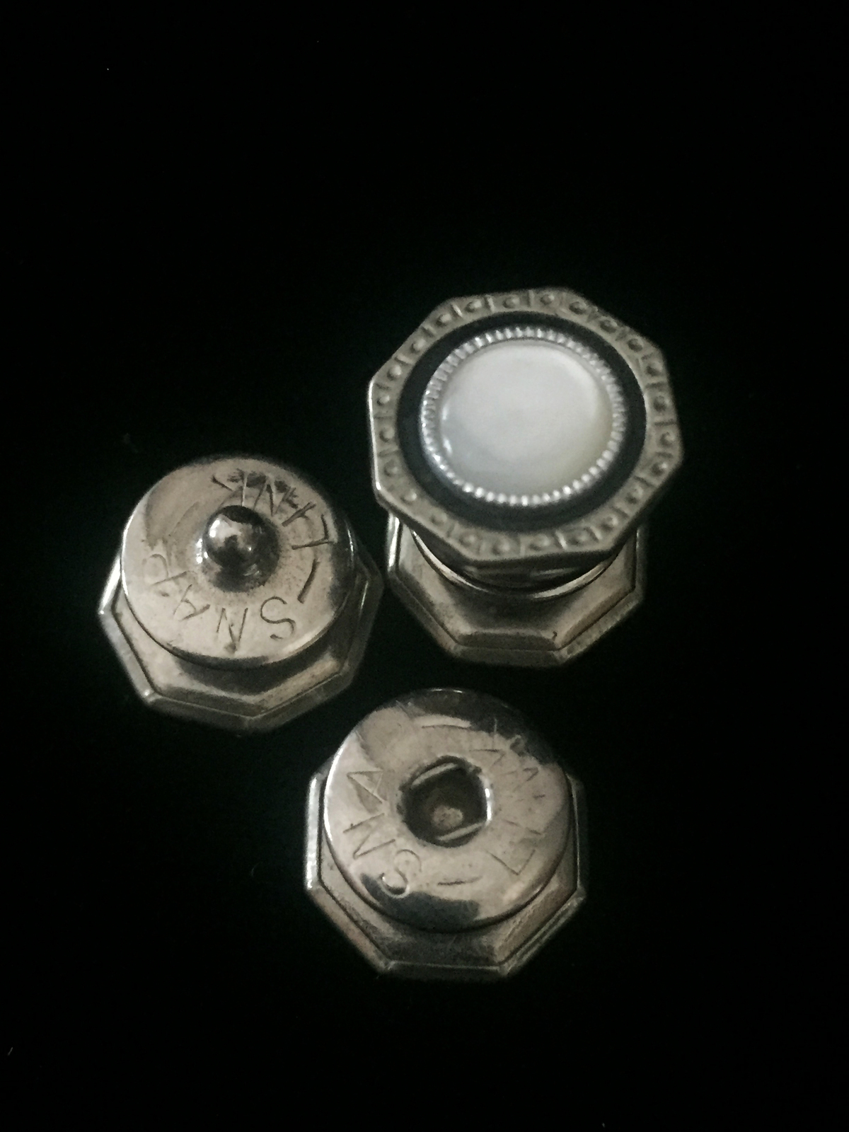 Vintage 20s Silver Octagon Snap Link Mother of pearl and celluloid cufflinks