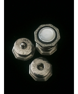 Vintage 20s Silver Octagon Snap Link Mother of pearl and celluloid cuffl... - $48.00
