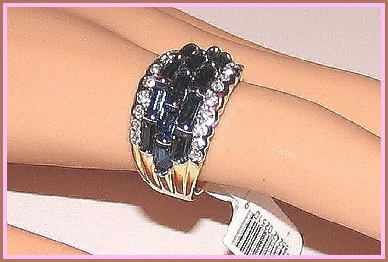 Ring blue clear 3 row sapphire