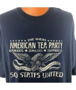 The Great American Tea Party T Shirt 3XL Blue Taxed Enough Already Eagle... - $26.72