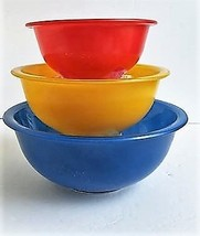 Pyrex Clear bottom primary color bowl set - $22.00