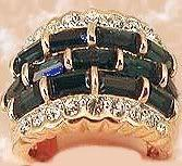 Womens 3 Row Imitation Blue Sapphires (CZ) Ring Size 6 18k YGP