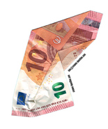 x5 Crumpled 10 Euro note vinyl joke stickers stag hen doo silly humour m... - $8.00