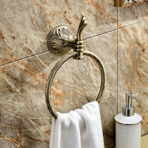 Antique brass classic style Bathroom brass flowers towel ring home /Hote... - $45.53