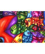 fish abstract original aceo art drawings markers miniature animals Eliza... - $7.99
