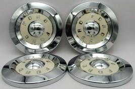 "set of 4 Vintage Antique 1950's Ford Chrome/White Hubcap Dog Dish 10.5"" Diameter - $151.95"
