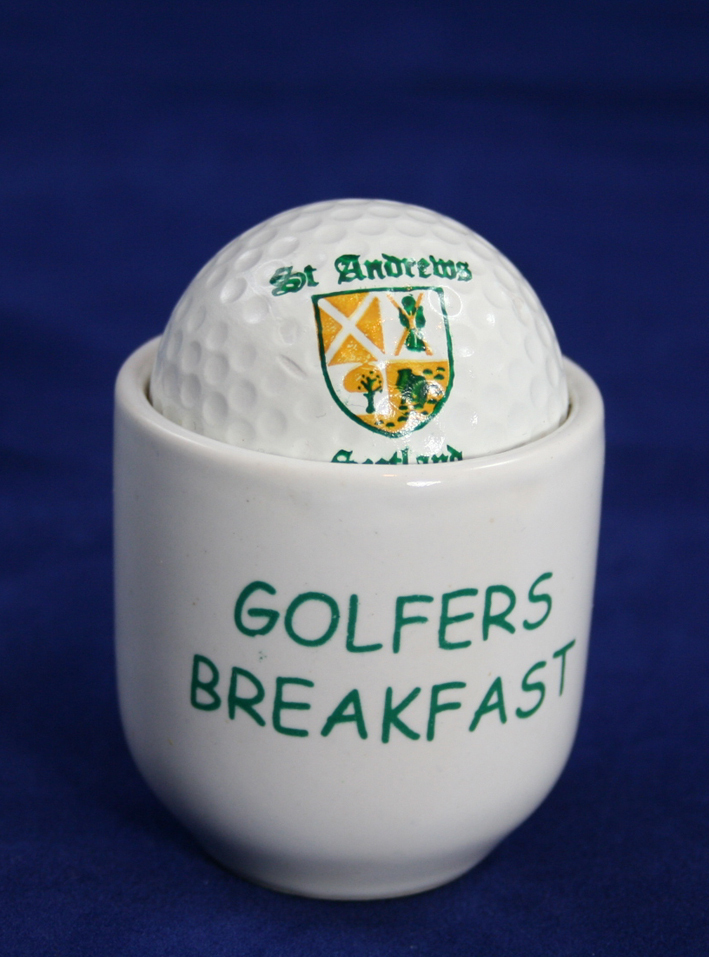 Golf ball from St. Andrews Scotland in an eggcup