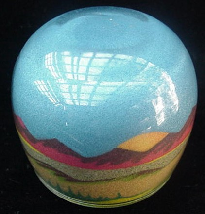 Old SW Native American Indian Colored Sand Paperweight