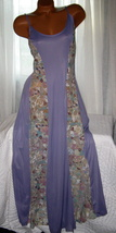Deep Lilac Long Nightgown Floral Lace Panels 1X 2X Plus Size Sheer - $22.75
